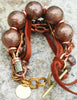 Rustic Copper, Brass, Chain and Leather Bohemian Statement Bracelet