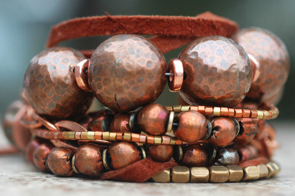 Rustic Copper, Brass and Leather Bracelet