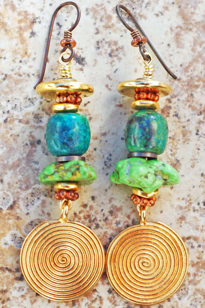Green Turquoise, Copper and Gold Medallion Dangle Earrings