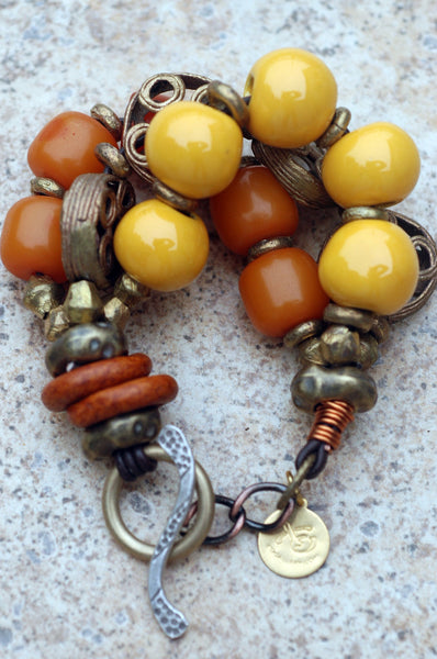 Exotic Amber, Yellow and African Brass Safari Bracelet