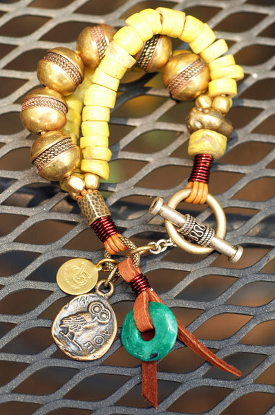 Exotic Tribal Ancient Yellow Glass and African Brass Charm Bracelet