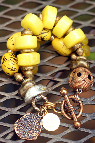 Multi-Strand Yellow Jade, Glass and African Brass Tribal Charm Bracelet
