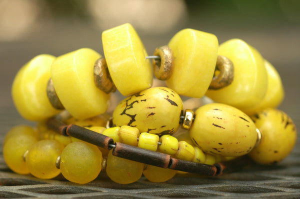 Multi-Strand Yellow Jade, Glass & African Brass Tribal Charm Bracelet