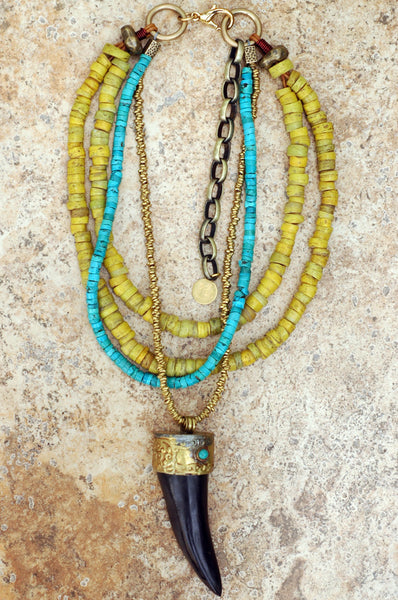Tribal-Style Turquoise, Yellow and Black Horn Tusk Pendant Necklace