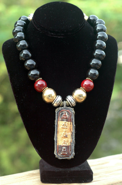 Black, Burgundy and Gold Terra Cotta & Thai Amulet Pendant Necklace