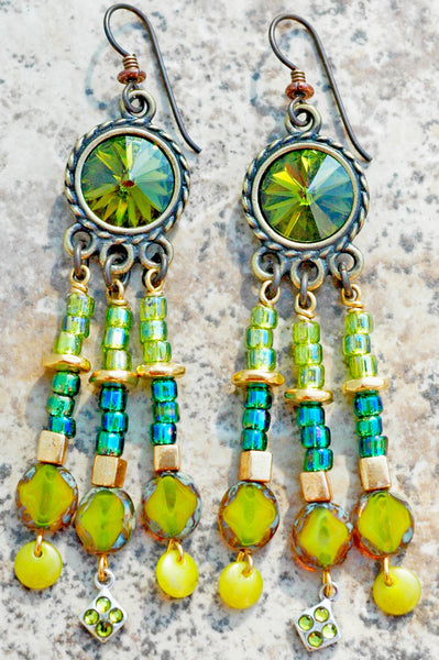 Chartreuse Glass and Emerald Green Crystal Sparkle Chandelier Earrings