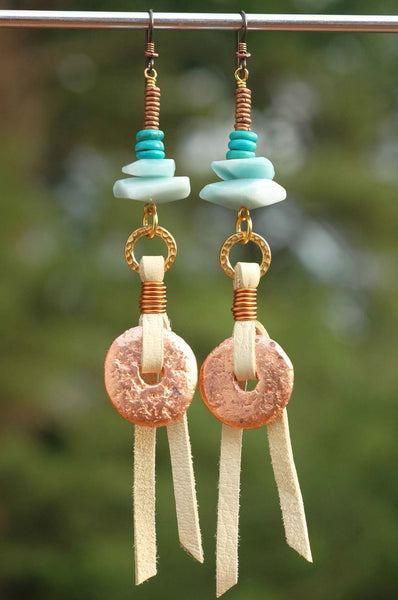 Blue Amazonite, Turquoise, Leather and Copper Disc Dangle Earrings