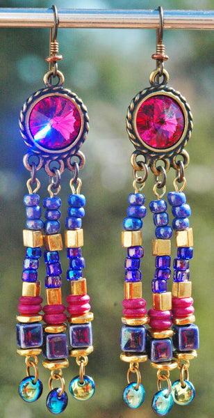 Pink and Purple Glass and Fuchsia Crystal Sparkle Chandelier Earrings