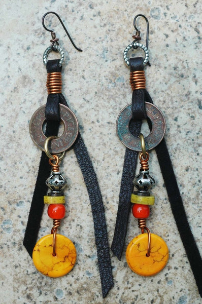 Yellow, Orange, & Brass Coin Leather Fringe Tribal Statement Earrings