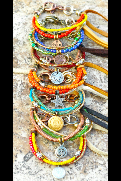 Everyday Glass, Mixed Metal and Leather Custom Friendship Bracelets