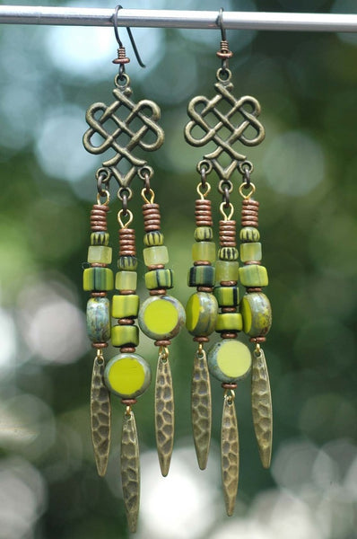 Green & Brass Gypsy Bohemian Tribal Chandelier Earrings