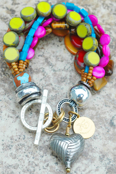 Artisan Passion-Filled Boho Chic Colorful Silver Heart Charm Bracelet