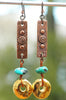 Hammered Copper, Turquoise and Gold Disc Dangle Statement Earrings