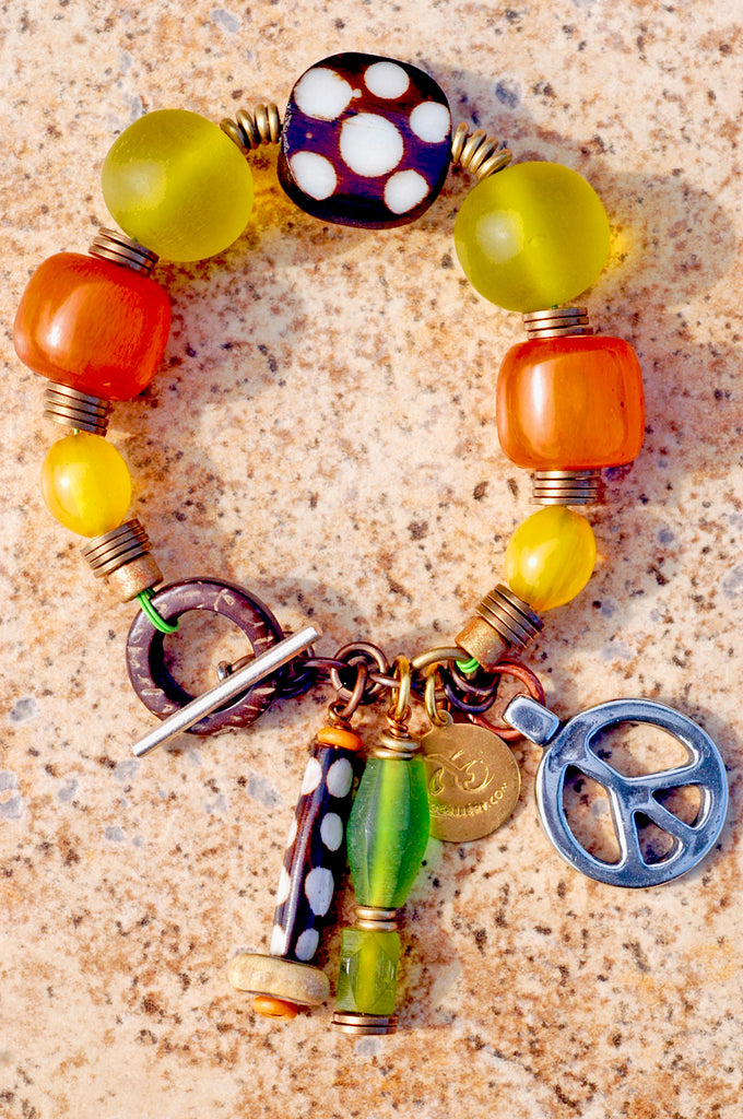 b90989143 Exotic Green, Amber, Batik Bone & Brass Peace Tribal Charm Bracelet