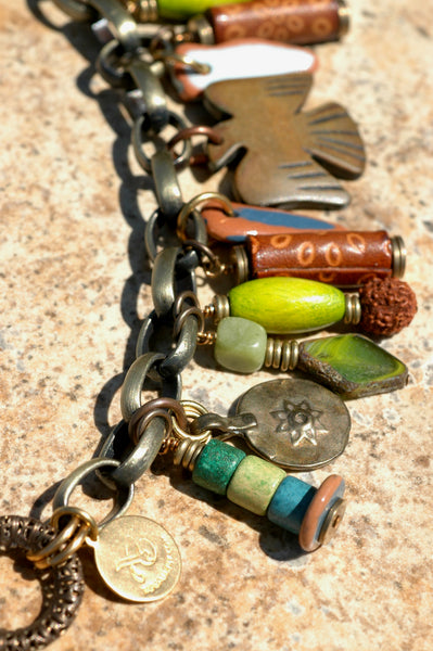 Artisan Funky Eclectic Green Glass, Leather, and Chain Charm Bracelet