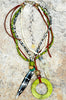 Island Style Leather and Green Shell Hoop Bohemian Statement Necklace