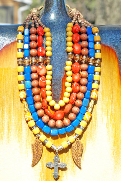 Dramatic & Bold Mexican-Inspired Yellow Blue Orange Cross Bib Necklace