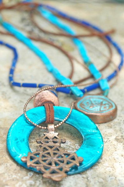 Island Style Leather and Blue Shell Hoop Multiple Pendant Necklace