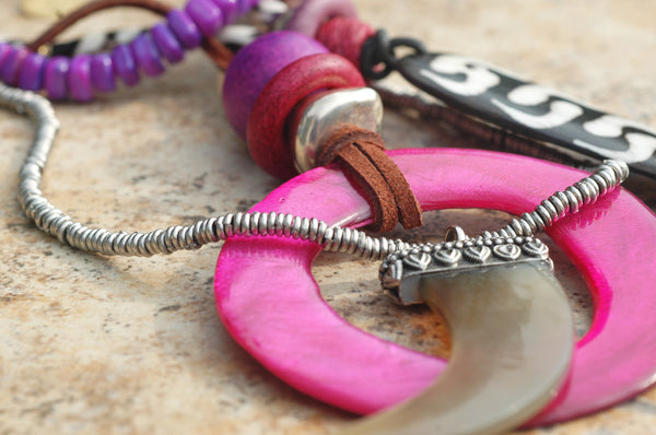 Island Style Leather and Pink Shell Hoop Bohemian Statement Necklace