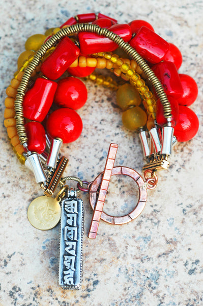 Red Coral, Yellow Glass and Tibetan Prayer Box Statement Bracelet