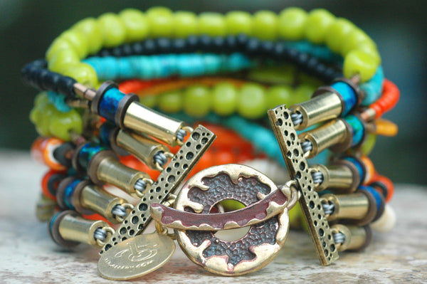 Exotic Island Inspired Turquoise Lime & Orange Cuff Statement Bracelet