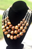 African-Inspired Batik Brown Bone, Brass and Ivory Statement Necklace