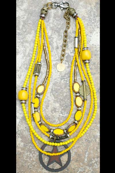 Bright Happy Multi-Strand Yellow Glass and Iron Star Pendant Necklace