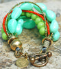Vibrant Sea Foam Blue, Mint Green, Orange and Brass Statement Bracelet