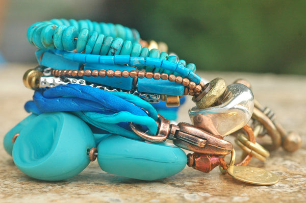 Mixed Media Blue Glass, Silk and Exotic Metals Boho Statement Bracelet
