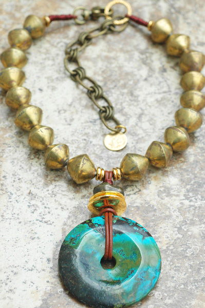 African Brass, Leather and Turquoise Disc Pendant Statement Necklace
