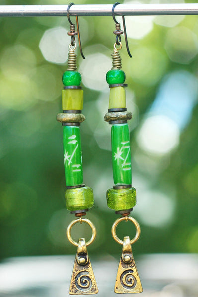 Artisan Green Glass & Mixed Metal Spiral Dangle Statement Earrings