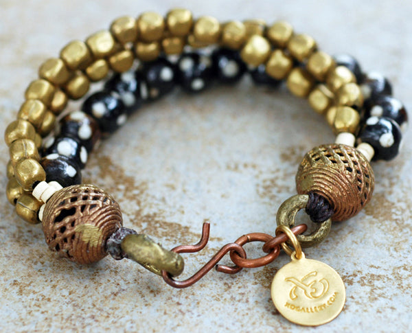 Soulful African Inspired Batik Bone and Brass Tribal Style Bracelet