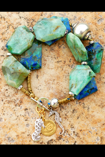 Blue Chrysocolla Malachite, Silver Shell and Silver Seahorse Charm Bracelet