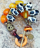 Exotic Amber Yellow, African Brass & Giraffe Print Statement Bracelet