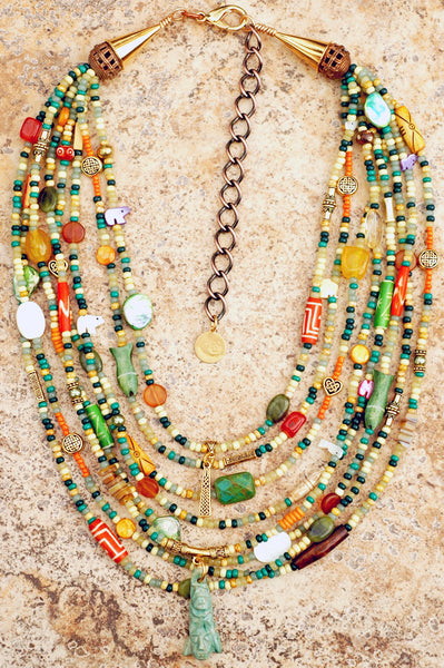 Custom Mayan Inspired Soul-Filled Mixed Bead Multi-Strand Jade Necklace