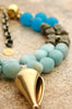 Stunning Blue Quartz, Amazonite, Bronze & Gold Shell Pendant Necklace
