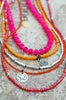 Long & Layered Pink, Orange and Silver Multi-Strand Charm Necklace
