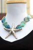 Blue Chrysocolla Malachite Stone and Thai Silver Starfish Necklace