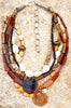 Natural and Organic Amber Horn, Shell, Bone and Brass Pendant
