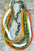 Custom Orange and Green Glass, White Puka Shell and Copper Necklace