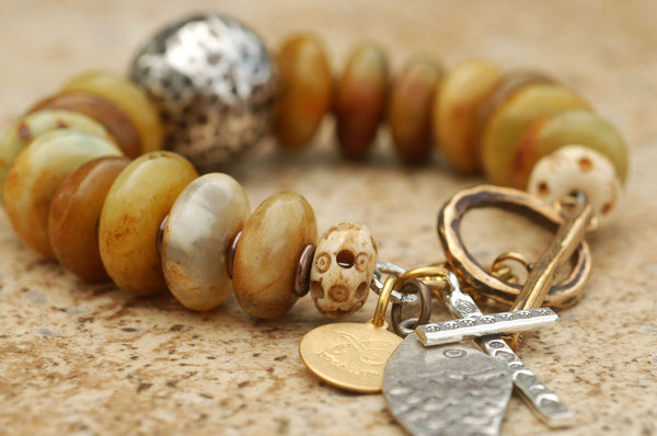 Old Yellow Jade, Bone, Bronze and Exotic Thai Silver Charm Bracelet