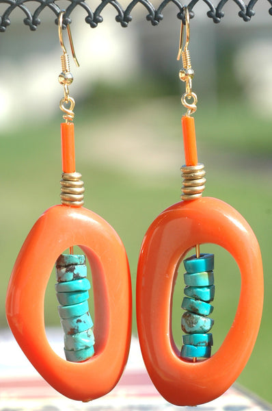 Orange & Turquoise Organic Ring Boho Tribal Statement Earrings