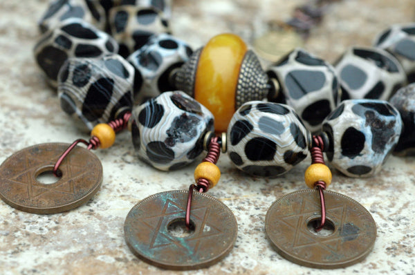 African-Inspired Giraffe Print Agate and Brass Coin Tribal Necklace