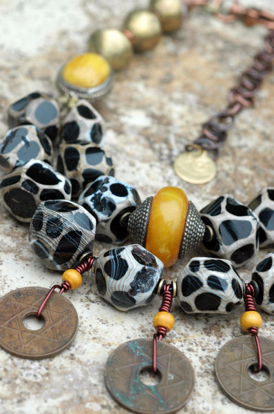 African-Inspired Giraffe Print Agate, Amber and Brass Coin Necklace