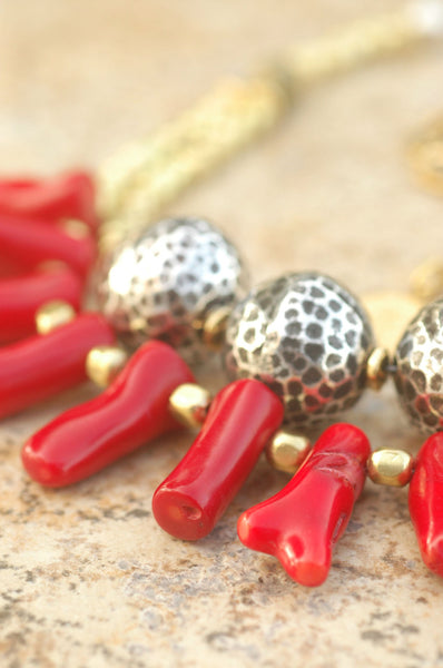 African Brass, Red Coral and Silver Ball Multi-Strand Statement Necklace