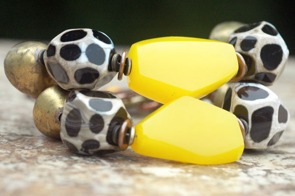 African-Inspired Giraffe Print Agate, Yellow and Brass Tribal Bracelet