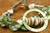Green Mother of Pearl, Shell and Silver Ocean-Inspired Charm Bracelet