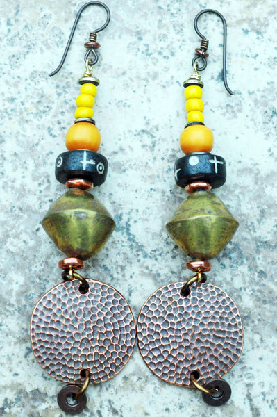 Exotic Brass, Tibetan Prayer Bead and Hammered Copper Disc Earrings