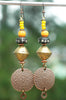 Exotic Brass, Tibetan Prayer Bead and Copper Disc Tribal Long Earrings