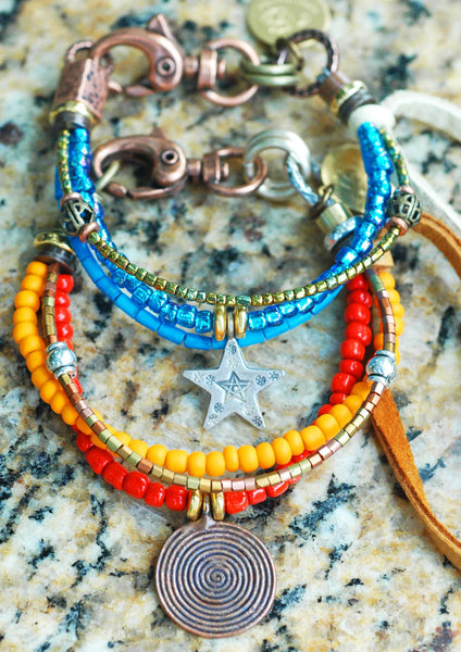 turquoise silver star and orange copper spiral friendship bracelets